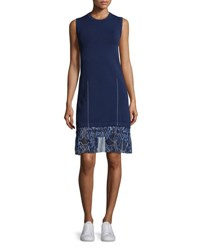 Grey By Jason Wu Sleeveless Knit Combo Dress W Bunny Print Chiffon Trim Marine Marine Marine Co