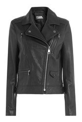 Karl Lagerfeld Leather Biker Jacket With Embossed Motif Black