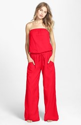 Women's Hard Tail Strapless Shelf Bra Jumpsuit Ruby