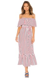 Mds Stripes Rebecca Ruffle Dress White