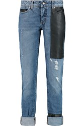 Mcq By Alexander Mcqueen Faux Leather Paneled Mid Rise Straight Leg Jeans Blue