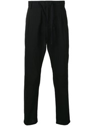 Paolo Pecora Striped Tapered Trousers Black