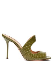 Aquazzura Forever 75 Crocodile Embossed Leather Mules Khaki