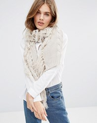 Pieces Petina Knitted Scarf Moonbeam Cream