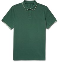 Club Monaco Contrast Tipped Cotton Pique Polo Shirt Forest Green
