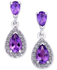 Macy's Amethyst 1 1 10 Ct. T.W. And Diamond 1 4 Ct. T.W. Halo Drop Earrings In 14K White Gold