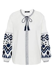 Hallhuber Embroidered Ethnic Blouse White