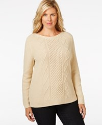 Karen Scott Plus Size Cable Knit Sweater Only At Macy's New Khaki