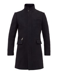 Ted Baker Men's Uplog Funnel Neck Overcoat Navy