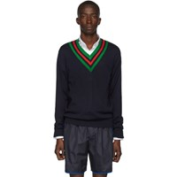 Gucci Navy Wool Web V Neck Sweater
