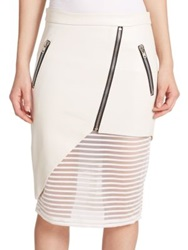 Mason By Michelle Mason Leather Sheer Detail Zip Pencil Skirt Ivory Black