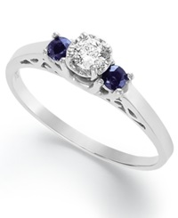 Macy's Sterling Silver Ring Certified Diamond 1 3 Ct. T.W. And Sapphire 1 6 Ct. T.W. Engagement Ring