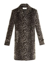 Saint Laurent Leopard Print Wool Blend Coat