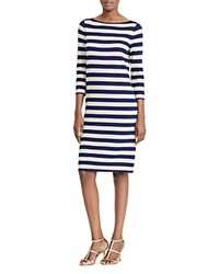 Ralph Lauren Metallic Stripe Sweater Dress Navy Gold