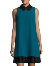 Nanette Nanette Lepore Lace Collar Shift Dress With Pleated Hem Green