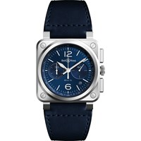 Bell And Ross Br0394 Blu St Sca 'S Chronograph Leather Strap Watch Midnight Blue