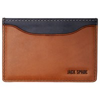 Jack Spade Mitchell Leather Credit Card Holder Chocolate Navy
