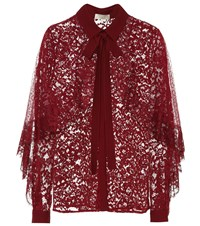 Elie Saab Lace Blouse Red
