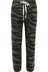 Current Elliott The Varsity Printed Cotton Jersey Track Pants Dark Green
