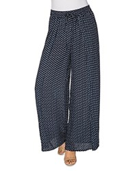 B Collection By Bobeau Ita Side Slit Dot Printed Pants Navy