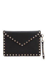 Valentino Garavani Rockstud Embellished Leather Pouch Black