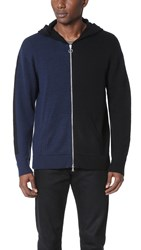 Timo Weiland Lewis Hooded Zip Cardigan Black Navy