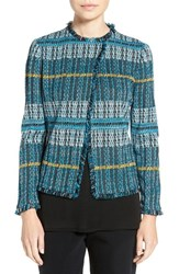 Ming Wang Women's Fringe Trim Jacquard Knit Jacket Multi