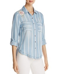 Billy T Floral Embroidered Stripe Chambray Shirt Blue White Stripe