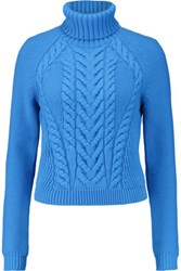 Carven Cable Knit Wool Turtleneck Sweater Blue