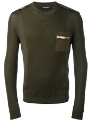 Dsquared2 Knitted Chest Pocket Pullover Green