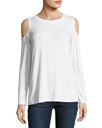 Allen Allen Jersey Cold Shoulder Top White