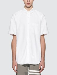Thom Browne Straight Fit Short Sleeve Oxford Shirt White