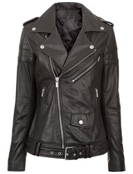 Blk Dnm Black Leather Motorcycle Jacket 8