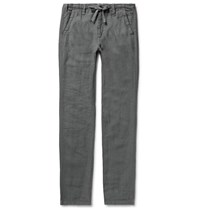 Hartford Charcoal Troy Slim Fit Linen Drawstring Trousers Gray