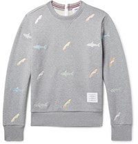 Thom Browne Shark Embroidered Loopback Cotton Jersey Zip Up Sweatshirt Gray