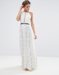 True Decadence Printed Maxi Dress With Eyelet Detail Waist White Ditsy Floral Multi