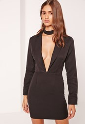 Missguided Plunge Long Sleeve Choker Neck Blazer Dress Black