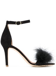 Via Roma 15 Feather Detail Sandals Black