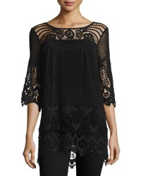 Xcvi 3 4 Sleeve Crochet Tunic Black