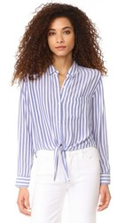 Rails Val Stripe Button Down Shirt Blue White Stripe