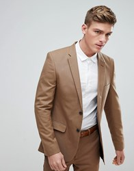 New Look Skinny Fit Suit Jacket In Camel Camel Tan
