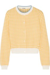 Miu Miu Cropped Houndstooth Cotton Cardigan Mustard