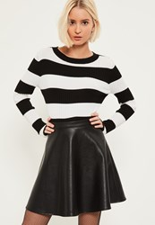 Missguided Black Faux Leather Full Mini Skirt