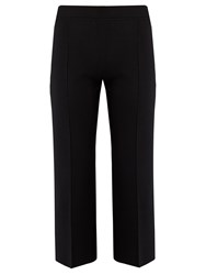 The Row Maria Wide Leg Silk Blend Cropped Trousers Black