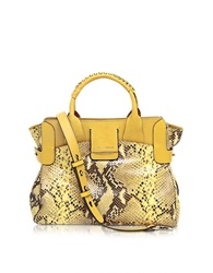Francesco Biasia Camden Small Yellow Embossed Leather Tote Bag W Shoulder Strap