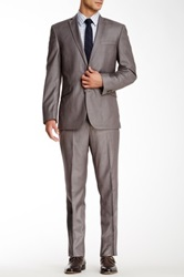 Kenneth Cole Grey Sharkskin Two Button Notch Lapel Suit Gray