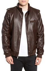 Members Only Vintage Faux Leather Racer Jacket Distressed Brown