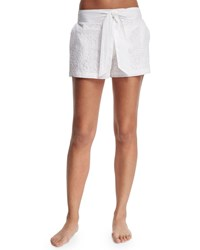Flora Bella Aquila Embroidered Shorts W Waist Tie White