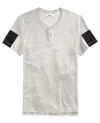 William Rast Men's Mixed Media Henley T Shirt Gray