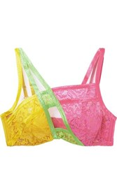 Agent Provocateur Marty Neon Mesh Trimmed Color Block Stretch Lace Underwired Bra Yellow